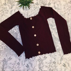 🍁 Forever21 Cropped Long Sleeve Top